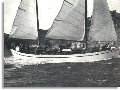 Nancy Bet beating into Salcombe at the end of a cruise, Bill Purser at the helm.                                  Photo: Richard Purser