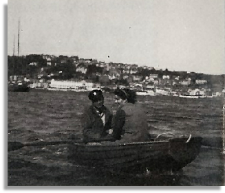 Helen Shaw (now Alison) rowing her future husband ashore in Salcombe