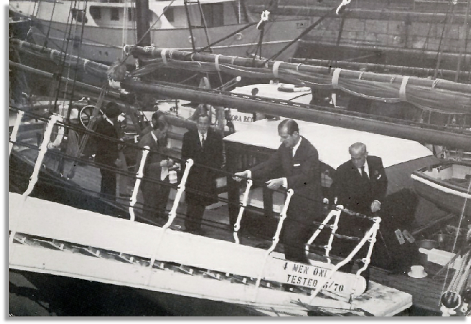 The Duke of Edinburgh after an inspection of Provident on her acquisition by the Maritime Trust.                                                                                                            Photo: Roy Westlake