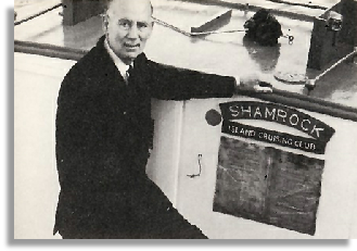 John Baylay on board Shamrock, the Club's first major launch. Photo: Budgett