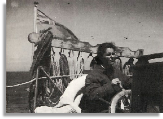 Anne Melville steering Hoshi